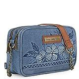 Lois - Bolso pequeño de Mujer con Bandolera Doble Compartimento. cómodo y para Diario o Paseo. Cuero PU y Lona Bordada. diseño Elegante 306183, Color Azul
