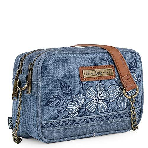 Lois - Bolso Pequeño de Mujer con Bandolera Doble Compartimento. Cuero PU y Lona Bordada. Diseño Elegante Asa con Cadena 306183, Color Azul