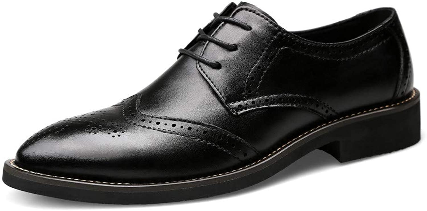 CHENXD shoes, Men's Fashion Genuine Leather British Style Business Oxford Casual Carving Belt Brogue shoes