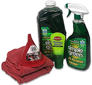Simple Green Concentrate All-Purpose Cleaner (Bundle Kit) - Includes 22 oz Spray Bottle, 67 oz Refill, 10 Red Shop Towels and 3 oz O'Keefe's Working Hands Hand Cream