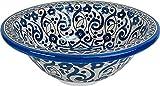 Marrakesch Waschbecken aus Keramik, handbemalt, von Hand bemalt, rund, innen nach außen bemalt, Di 30 Cam H 14 cm, Blau