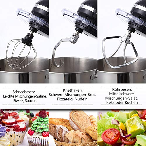 Aucma Küchenmaschine 1400W mit 6,2L Edelstahl-Rühlschüssel, Rührbesen, Knethaken, Schlagbesen und Spritzschutz, 6 Geschwindigkeit Geräuschlos Teigmaschine, Schwarz - 3