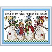 雪だるまパターンカウントクロスステッチ11CT 14CTクロスステッチセット漫画クロスステッチキット刺繍刺繍 Cross-Stitch (Cross Stitch Fabric CT number : 14CT picture printed)