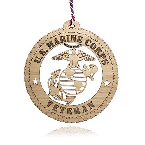 Jolette Designs Marine Corps Gifts - Licensed USMC Christmas Ornament for Veterans - Wooden Hanging United States Marine Corps Decorations - Marine Corps Decor for Dad, Mom - Veteran Xmas Ornaments (Marine Corps Unit Patches)