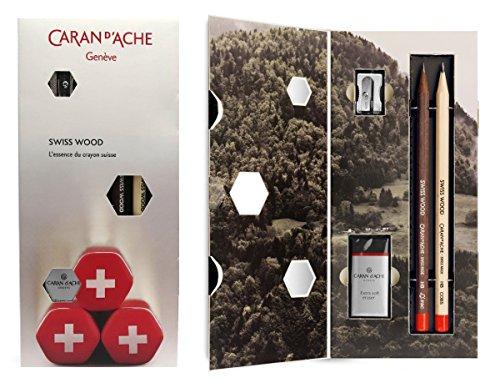 スイス製 木製 カラン ダッシュ 鉛筆ギフトセット (HB グラファイト鉛筆 消しゴム&鉛筆削り)