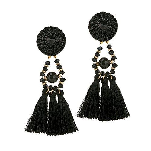 Nobranded Pendientes Colgantes Bohemios de Moda para Mujer, Joyería de Fiesta con Flecos Y Borla Larga para Mujer - Negro