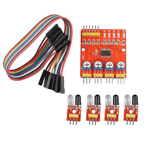 HALJIA modulo inseguimento Obstacle Avoidance sensore a infrarossi a canali 4 CH IR Line Track traino sensore PCB Board Compatibile con Smart Car/Arduino