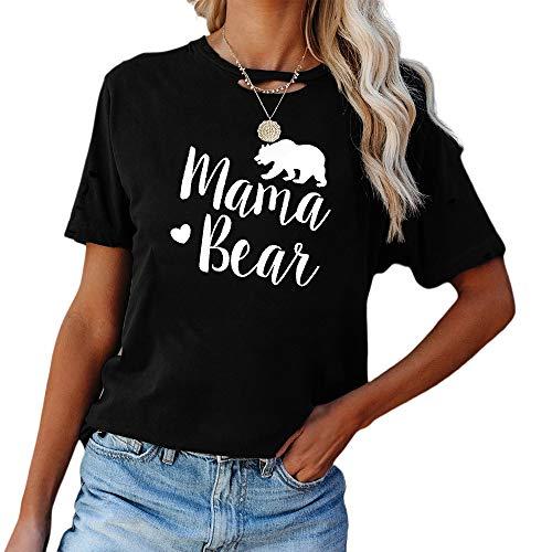 Top Mujer T-Shirts Elegante Cómodo Verano Cuello Redondo Mujer Blusa Exquisitas Letras Animal Estampado Diseño Diario Casual Transpirable All-Match Mujer Manga Corta A-Black XL