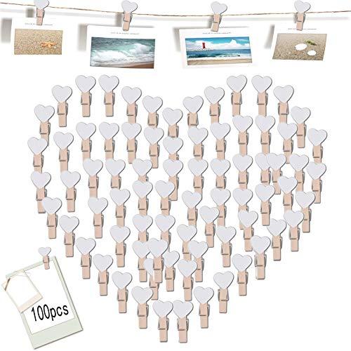 Pinzas de Madera 100 Piezas Mini Pinzas de Foto de Madera Pinzas de Madera Pequeñas Pinzas de Madera Decoración para Foto Titular de Tarjeta de decoración y Bricolaje Artesanal