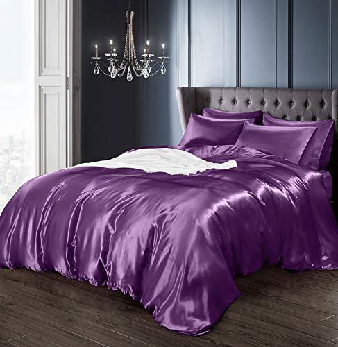 Parure de lit avec housse de couette, drap-housse et 4 taies d'oreiller en satin Violet