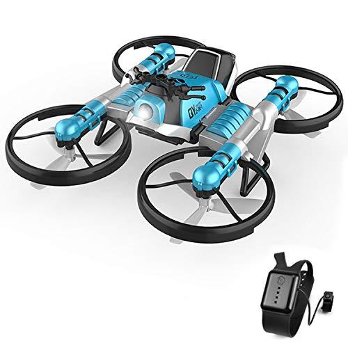 Siebwinn Drohne Kinder, 2 In 1 Uhr RC Fernbedienung Faltbare Verformung Rc Drohne Quadrocopter Motorrad Spielzeug FüR Kinder Kinder