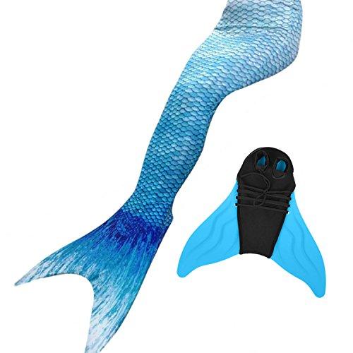 likeep Meerjungfrauenschwanz Ⅱ zum Schwimmen mit Verbesserten Flosse und Schönere Mermaidens Meerjungfrauenschwanz - Mädchentraum (BlaueWasser, 160-165, Kinder L)