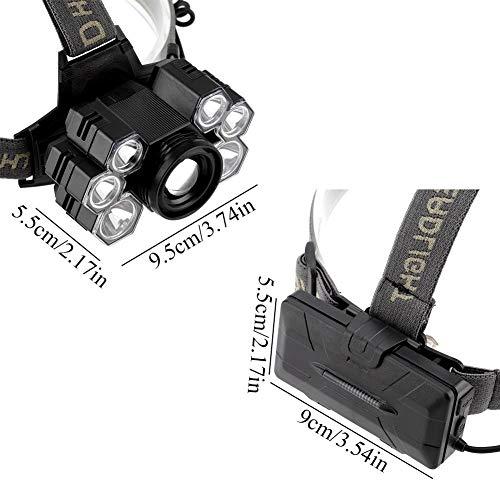 cersalt Linterna Frontal, Linterna Frontal Recargable, Herramienta De Iluminación con Puerto USB 7LED para Acampar Al Aire Libre