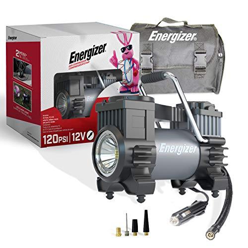 Energizer Air Compressor Portable Tire Inflator, 12V DC Air Pump for Car Tires with Digital Tire Pressure Gauge, 120 Max PSI, Preset Pressure Feature, LED, Digital Display - Includes Storage Bag
