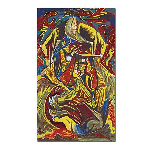 nr Abstract olieverfschilderij Poster Jackson Pollock compositie met vrouw muurkunst schilderij voor de woonkamer print op canvas Decor-50x70cm Frameloos