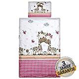 Aminata Kids Bettwäsche 100x135 Baumwolle Mädchen Kinder rosa pink weiß - Dschungel-Tiere-Motiv -...