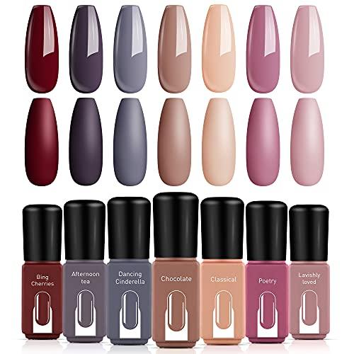 Gel Nail Polish Set – MODELONES 7 Colors Nude Pink Brown Gray Soak off Nail Polish Kit LED Nail Lamp Required Spring and…