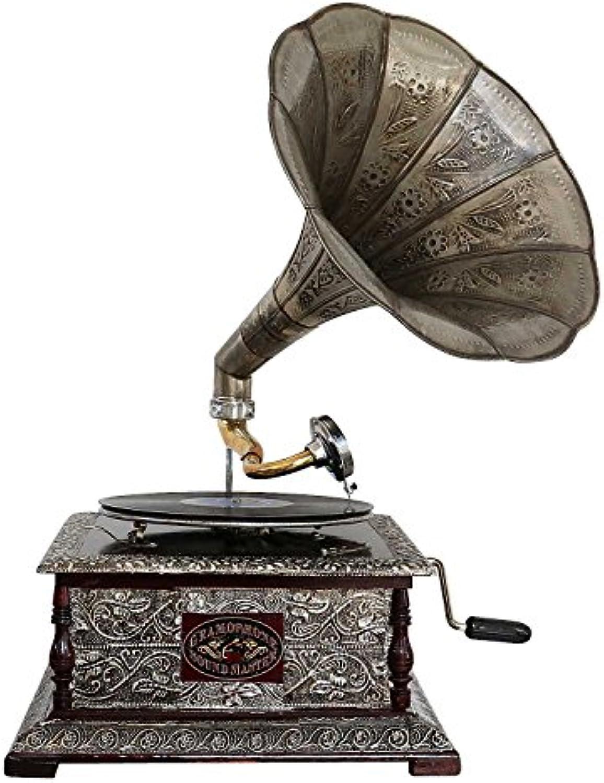Aubaho Nostalgie Grammophon Gramophone Dekoration mit Trichter Grammofon Antik-Stil (e)