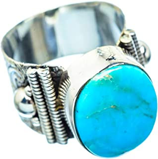 Arizona Turquoise Ring Size 7.75 (925 Sterling Silver) - Handmade Boho Vintage Jewelry RING955716