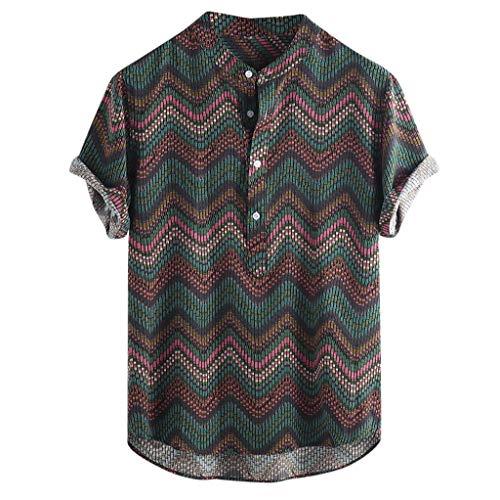 TAMALLU Herren Shirts Mode Männer Ethnic Bedrucktes T-Shirt Stehkragen Tee Lose Bluse(Grün,3XL)