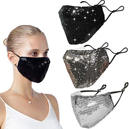 Venida 3Pack Fashion Face Mask Sequin Glitter Bling Cover Nose Mouth Washable ReusableMasks for Women
