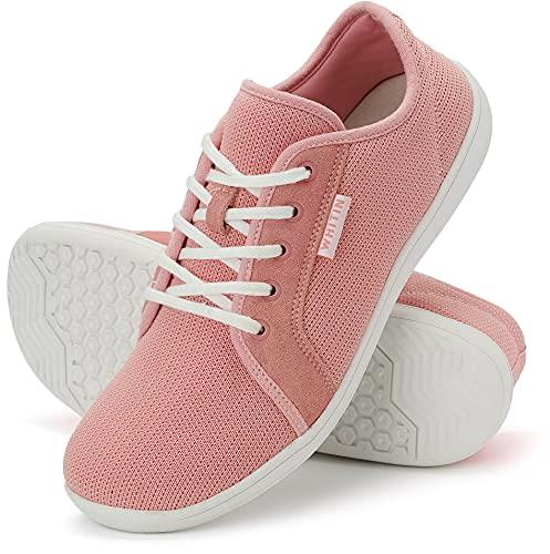 WHITIN Zapatillas Minimalista de Barefoot Trail Running Deportes Deportivas para Hombre Mujer Tejer Zapato Descalzo Correr Sneakers Fitness Gimnasio Calzado Asfalto Tenis Rosado 43