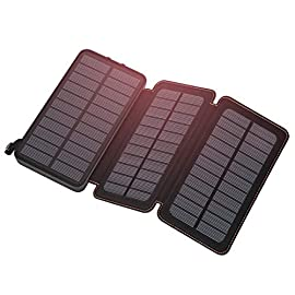 Solar Charger 24000mAh, FEELLE Portable Charger External Battery Pack with Dual USB Ports Waterproof Phone Charger for Smart Phones, Tablets and More 4 <p>24000mAh Power Bank: The power bank can fully charge a smart phones for several times. Large Solar Panels : Portable Solar charger with 3 highly efficiency solar panels, which could recharge itself expeditiously. Dual USB Output: Dual charging ports which offer 2.1A high speed charging allow you to charge 2 devices simultaneo. It is perfect for outdoor activity . Outdoor Using: Awesome for outside activities such as camping, hiking, traveling and other emergency use.</p>