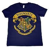 HARRY POTTER Oficialmente Licenciado Hogwarts Crest Unisexo Niños Camiseta - Azul Marino 9/10 Años