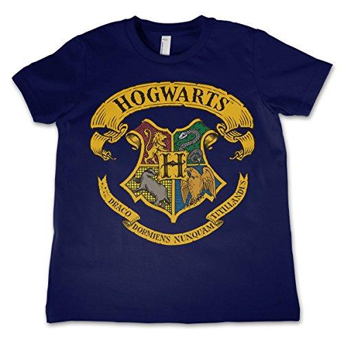 HARRY POTTER Licenza Ufficiale Hogwarts Crest Maglietta da Bambino Unisex - Blu Marino 11/12 Anni