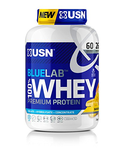 USN Whey Protein Powder: Blue Lab Whey Banana 2 kg, 100% Premium Post Workout Muscle Recovery