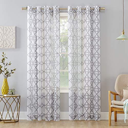 No. 918 Powell Trellis Sheer Grommet Curtain Panel, 59' x 84', Gray