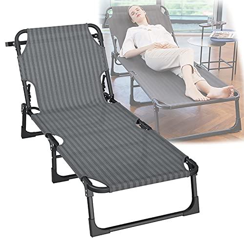 QAQWER Tumbona reclinable, silla de jardín plegable de gravedad cero con reposacabezas ajustable, respaldo ajustable de 5 niveles, carga de hasta 300 kg