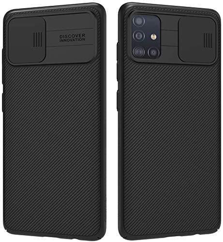 Funda para Samsung Galaxy A71, Protección de Cámara Carcasa para Samsung A71, Rosyheart Cubierta Deslizante para Cámara Delgado Ligera Rígida PC Anti-Golpes Anti-Arañazos Protectora Caso - Negro