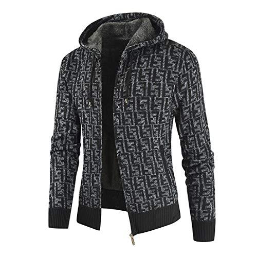 PRJN Mens Hoodie Sweatshirt Jumper Hooded Mens Cotton Padded Fleece Lined Full Zip Up Hoodie Sweatshirt Jacket Mens Pullover Hooded Sweatshirt Casual Zip Hoodies Fashion Hoody