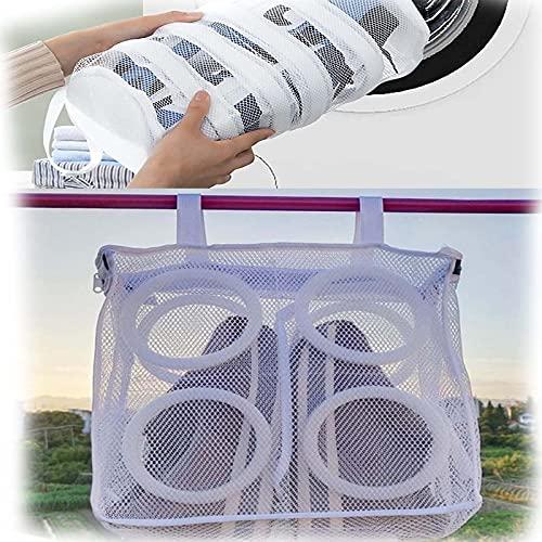Shoe Washing Bag, 2pcs Sneaker Mesh Washing Cleaning Bag, Dryer Shoe Net, Laundry Bag Roller Underwear Bra Laundry Bag for Shoe Airing Dry Tool
