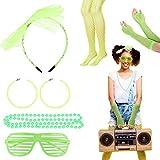 LOPOTIN 6pcs Accesorio disfraz 80s, Collar 80s, Diadema de Encaje neón 80S, Guantes de Malla neón sin dedos, Medias Neon Malla, Gafas de persanias para Disfrazarse en Carnival Fiestas Escenario.