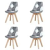Injoy Life - Juego de 4 sillas de comedor modernas con patas de madera maciza y asiento acolchado suave para cocina, salón, oficina, color negro