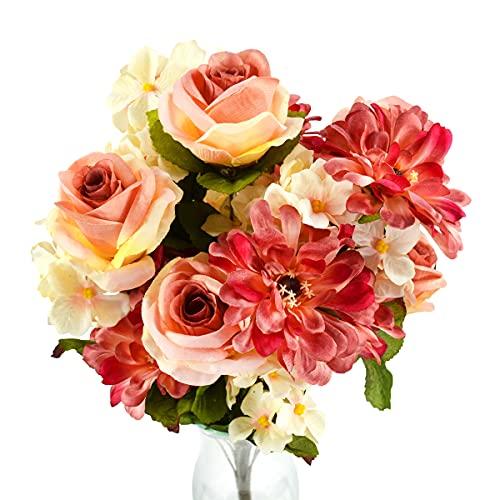 Rabbihom GRANDE 60 × 40 cm Rosa cosmo Fiori Artificiali Fiori Finti Realistica Plastica Bouquet Pianta Artificiale Interno ed Esterno Casa Giardino Nozze Vaso Tavolo Cimitero muro Decorazione