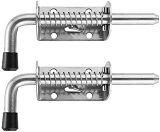 JQK Spring Loaded Latch Pin, 304 Stainless Steel Barrel Bolt Thickened 2mm Door Lock, 5 Inch Brushed Finished(2 Pack), HSB...