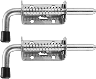 JQK Spring Loaded Latch Pin, 304 Stainless Steel Barrel Bolt Thickened 2mm Door Lock, 5 Inch Brushed Finished(2 Pack), HSB300-P2