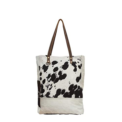 93d6bd99c Myra Bag Genuine Leather with Black & White Cowhide Shoulder Bag S-0708