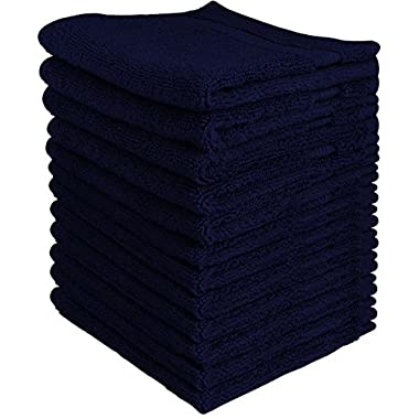 Utopia Towels Luxury Cotton Washcloth Towels Set (12 Pack, Navy Blue, 12 x 12 Inches) Multi-Purpose Extra Soft Fingertip Towels, Highly Absorbent Face Cloths, Machine Washable Sport and Workout Towels