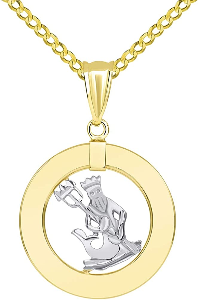 14k Two Tone Gold Open Circle Aquarius Zodiac Sign Pendant Cuban Necklace