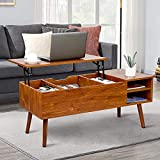 Modern Lift Top Coffee Table - Sturdy Lift Top Table, Easy to Lift Up and Close, with Ample Hidden Compartments and Adjustable Storage Shelf, Coffee Table with Lift Top for Living Room (Cherry Wood)