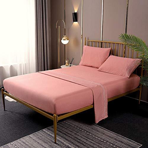 Baumwolle Bettlaken,4 stücke Bettwäsche-Sets Baumwolle Weiche Bettwäsche Reine Farbe bettlaken Set, Kissenbezug Spannbetttuch Hotel Textilien Jade 180 * 200 + 40 cm (4 stücke)