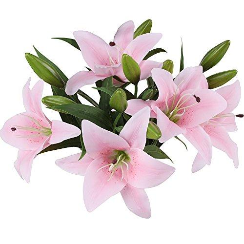 MEIWO Künstliche Blumen, 5 Stück Real Touch Latex Künstliche Lilien Blumen in Vasen Hochzeit Sträuße/Home Dekor/Party/Graves Arrangement(Rosa) - 6