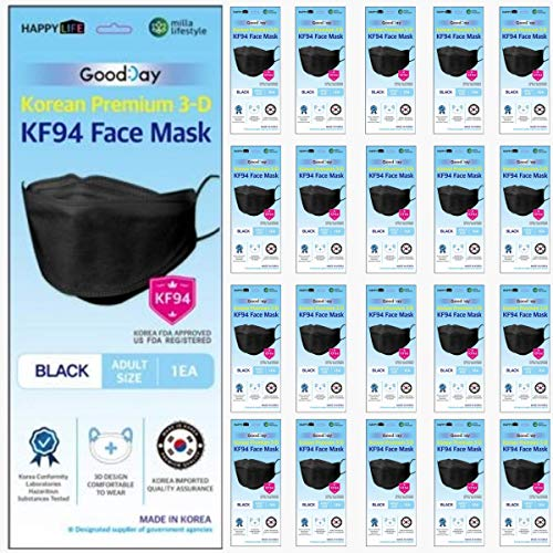 (Pack of 20) Korea Black Disposable KF94 Face Masks 4-Layer Filters Breathable Comfortable Protection, Protective Nose Mouth Covering Dust Mask Made in Korea. Good Day KF94 Mask.