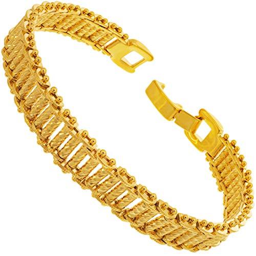 LIFETIME JEWELRY 10mm Riccio バーブレスレット 24K純金メッキ 女性と男性用 Small, Medium and Large ゴールド