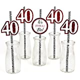 We Still Do Paper Straw Decor - 40th Wedding Anniversary Party Striped Decorative Straws - Set of 24