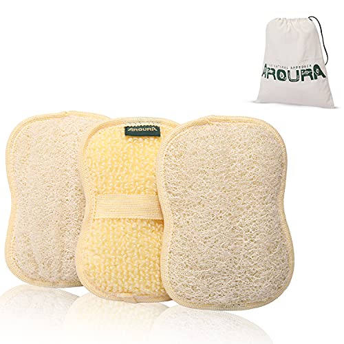 Aroura Egyptian Natural Loofah Pads and Sponges for Bathing Set of 3, 4*6 Inch- With Organic Flexible Fibers and Cotton Handle